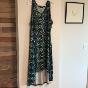 Blue green high-low dress